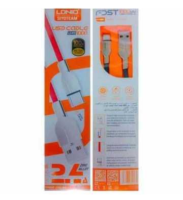Cable Usb Micro-Usb +Usb-C + Lightning Budi 2M 2.4A - Ressort Étirable  M8j150t3s-Blk